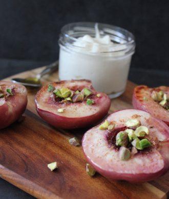 Pistachio Peaches with Coconut Yoghurt