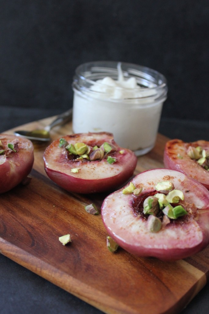 Pistachio Peaches with Coconut Yoghurt