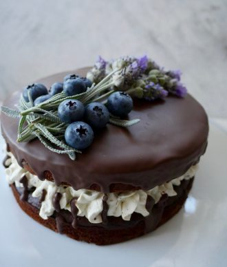 Gluten Free Blueberry and Lavender Chocolate Cake